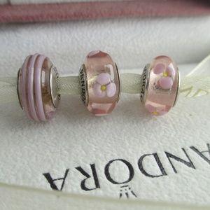 Authentic Pandora lot of 3 pink  retired murano